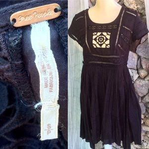 Free People BLK Embroidery Cut Out Cotton Tunic SM